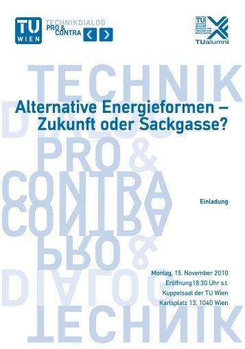 Alternative Energieformen – Zukunft oder Sackgasse? - TUalumni