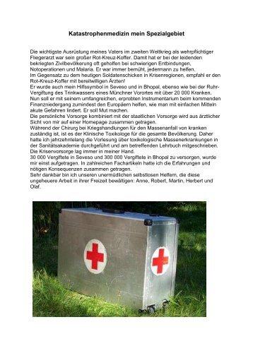 Katastrophenmedizin mein Spezialgebiet
