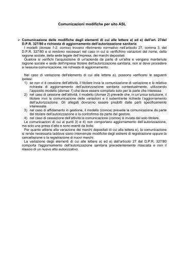 Comunicazioni modifiche per sito ASL - Comune di Albese con ...
