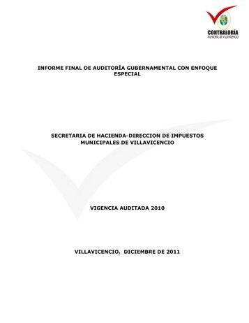 informe fianal auditoria secretaria de hacienda - Contraloría ...
