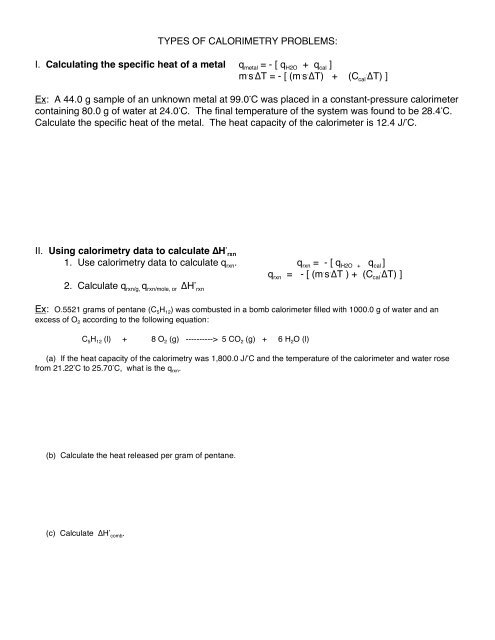 Types Of Calorimetry Problems I Calculating The Specific