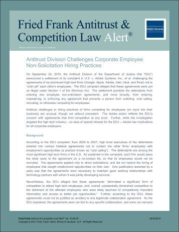 Antitrust Division Challenges Corporate Employee Non ... - Fried Frank