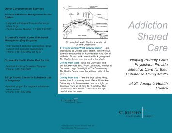 Brochure: Addiction Shared Care - St. Joseph's Health Centre Toronto