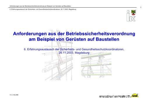 Anforderungen aus der Betriebssicherheitsverordnung ... - Sidi Blume