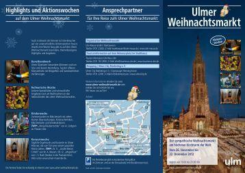 Der Ulmer Weihnachtsmarkt Sehenswertes ... - Ulm/Neu-Ulm