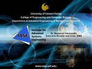 Institute for Advanced Systems Engineering - University of Central ...