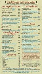Les déjeuners de chez-nous - Café Chez-nous