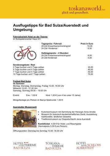 Ausflugstipps für Bad Sulza/Auerstedt und ... - Toskana Therme