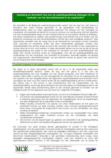 Opleiding en diversiteit - Mcr Bvba