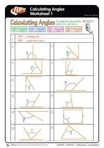 Calculating Angles Worksheet 1 - TTS