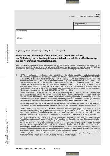 Vereinbarung zwischen (Auftragnehmer) und (Nachunternehmer)