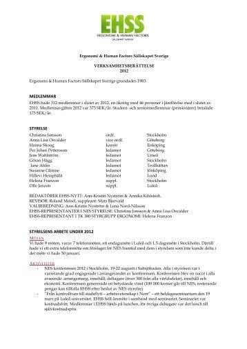 medlemmar styrelse styrelsens arbete under 2012 - Ergonomi och ...