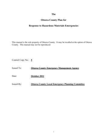 The Ottawa County Plan for Response to Hazardous Materials ...