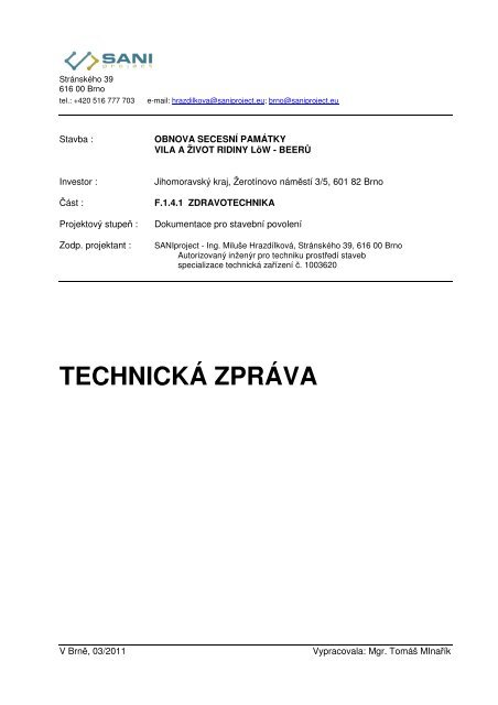TECHNICKÁ ZPRÁVA - Jihomoravský kraj