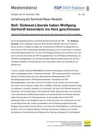 Pressemitteilung vom 29.11.2008 - Bullinger, Dr. Friedrich