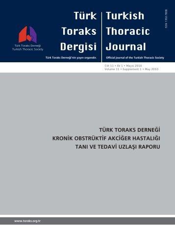 türk toraks derneği kronik obstrüktif akciğer hastalığı tanı ve tedavi