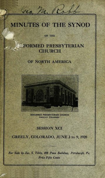 Reformed Presbyterian Minutes of Synod 1920 - Rparchives.org