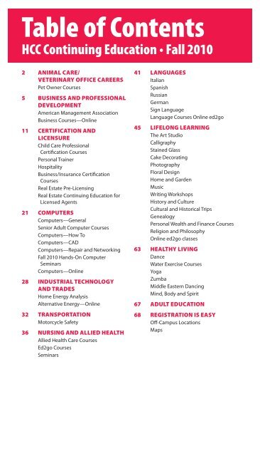 Table of Contents - Hagerstown Community College