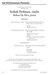 Itzhak Perlman, violin Rohan De Silva, piano - Cal Performances