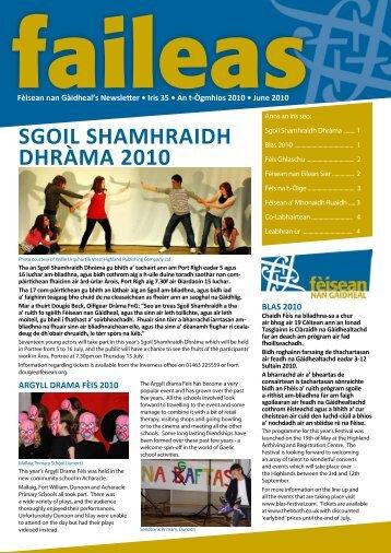 SGOIL SHAMHRAIDH DHRÀMA 2010 - Fèisean nan Gàidheal