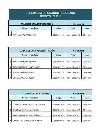 CEREMONIA DE GRADOS POSGRADO BOGOTÁ 2013-1