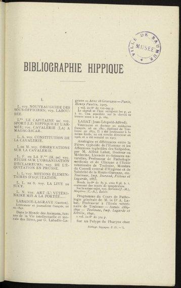BIBLIOGRAPHIE HIPPIQUE - Centre de documentation équestre