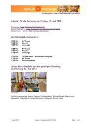Infoblatt für die Sendung am Freitag, 13. Juli 2012 Das - Wdr.de