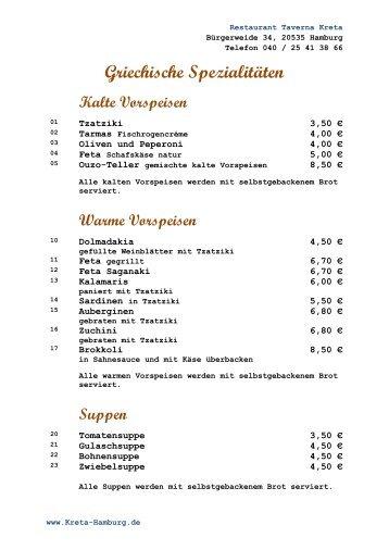 Griechische Spezialitäten - Taverna Kreta - Ihr griechisches ...