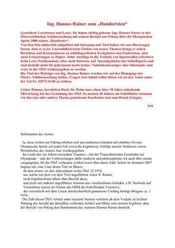 Ing. Hannes Rainer zum - Österreichische Schützenzeitung