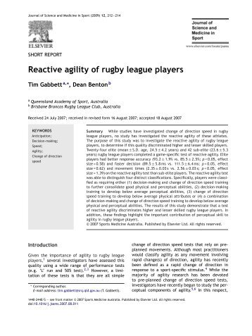 Reactive agility of rugby league players - North Wales Spine Clinic