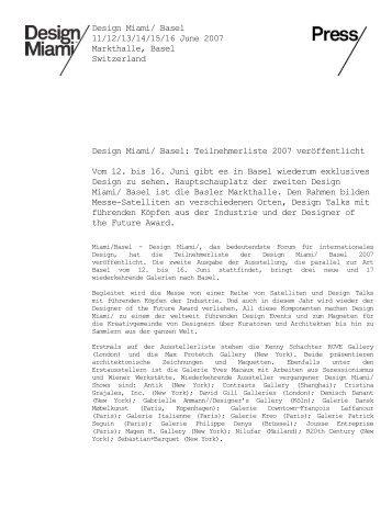 Design Miami/ Basel 11/12/13/14/15/16 June 2007 Markthalle ...