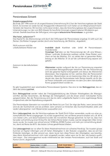 Merkblatt Einführung in die Pensionskasse - Züriwerk