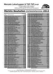 Märklin Neuheiten Vorbestellpreise 2013 - Menzels Lokschuppen