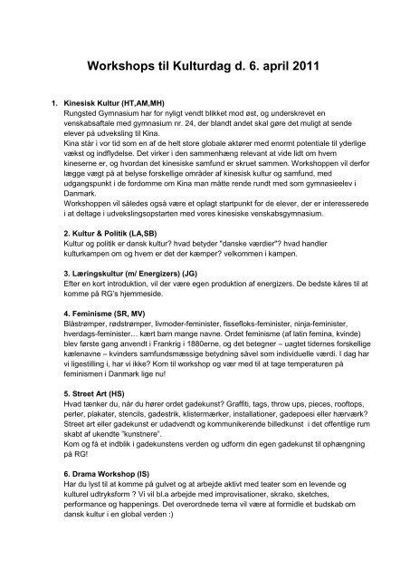 Workshops til Kulturdag d. 6. april 2011 - Rungsted Gymnasium