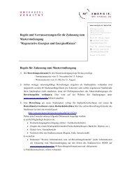 Regeln und Vorraussetzungen für die Zulassung - Regenerative ...
