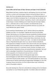 Deutschland und Japan in der G20-Welt (MdB Rolf Mützenich