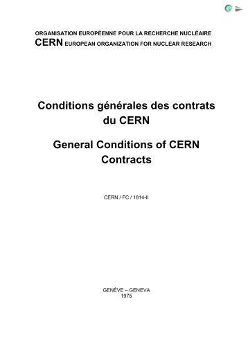 Conditions générales des contrats du CERN General Conditions of ...
