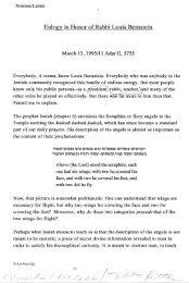 Eulogy in Honor of Rabbi Louis Bernstein - Yeshiva University