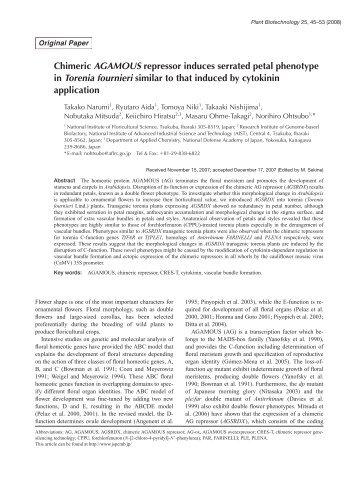 Plant Biotechnol. 25(1): 45-53 (2008) - Wdc-jp.biz