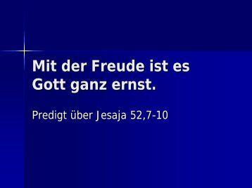 Predigt über Jesaja 52,7-10 - EFG Hemsbach