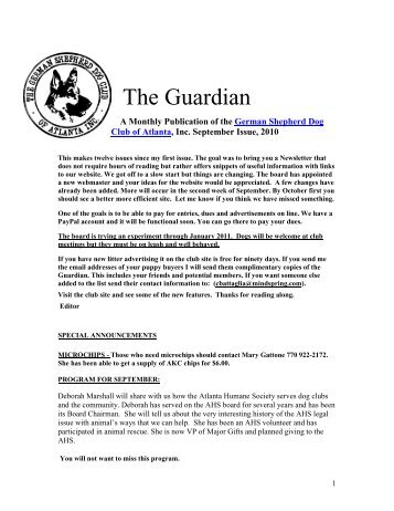 The Guardian - German Shepherd Dog Club of Atlanta