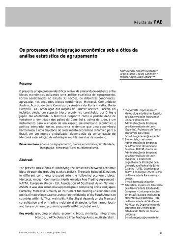 Os processos de integração econômica sob a ótica da análise ...