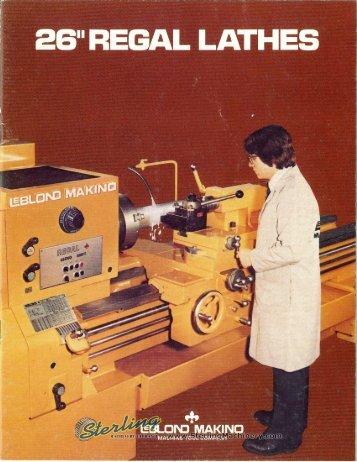 Leblond Makino 26 in Regal Lathe Brochure - Sterling Machinery