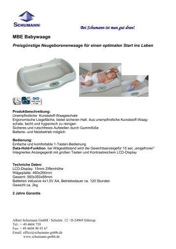 MBE, Babywaage - Schumann GmbH