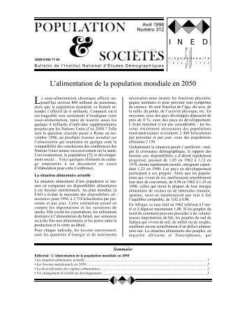 L'alimentation de la population mondiale en 2050 I N E D
