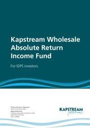 Kapstream Wholesale Absolute Return Income Fund - The Portfolio ...