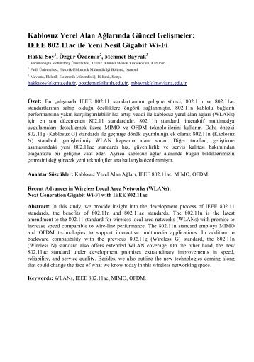 Kablosuz Yerel Alan Ağlarında Güncel Gelişmeler: IEEE 802.11ac ...