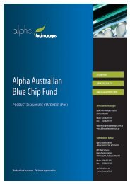 3. Benefits of investing in the Alpha Australian Blue Chip Fund
