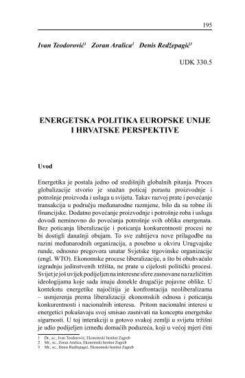 ENERGETSKA POLITIKA EUROPSKE UNIJE I HRVATSKE ...