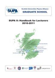 GRADUATE SCHOOL SUPA II: Handbook for Lecturers 2010-2011